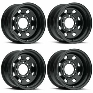 Set 4 16 Vision Soft 8 8 Lug Black Steel Wheels For Gmc Dodge Chevy Trucks 16x8
