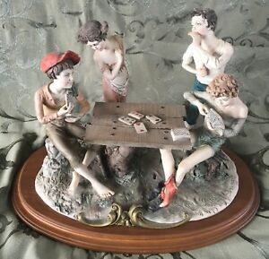 Vintage Tepizzi Italian Capodimonte Porcelain Figurines Playing Cards Cheaters