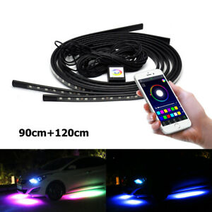 4 led Under Car Tube Strip Underglow Neon Light Kit Phone App Control Waterproof