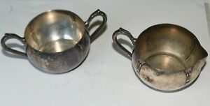 National Sugar Bowl Creamer Bowl Silver On Copper