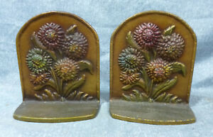 Vintage 1930 S 40 S Cast Iron Bookends With Sunflowers