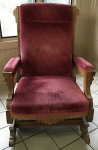Antique Carved Victorian Platform Rocking Chair Mauve Velvet Eastlake Rocker