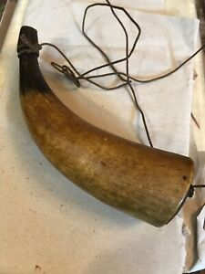Revolutionary War 18th Century Super Color Patina 8 Inch Powder Horn With Cord