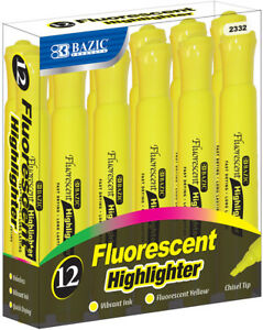 Bazic Yellow Desk Style Fluorescent Highlighters 12 box Case Pack 12
