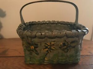 Antique Hand Painted Woven Ol Green Gathering Basket Good Condition