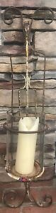 Antique Architectural Building Wall Iron Candle Sconce Fixture Holder 39 L X 9