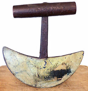 Early Antique 18th C Heavy Wrought Iron Chopper Chopping Knife Folk Art Painting