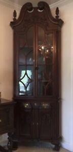 Antique Mahogany Corner Cupboard Early 20th Century Chippendale Repro No Ship