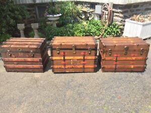 Antique Steamer Trunk Vintage Victorian Rustic Chest Flat Top 1870 1880