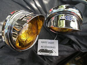 New Pair Small Vintage Style Amber Color Fog Lights With B T Visors 6 Volts