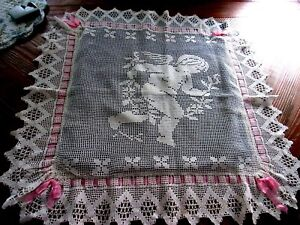 Antique Victorian English Crochet Lace Pillow Sham