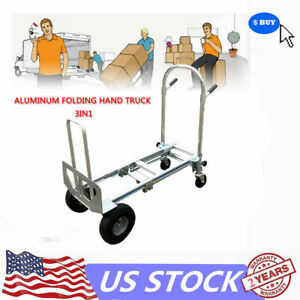 3 in 1 Hand Truck Assisted Hand Truck Cart With Flat free Wheels Max 350 Kg