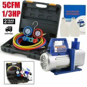 5cfm 1 3hp Air Vacuum Pump Hvac Refrigeration Ac Manifold Gauge Set R134a Kit Ba