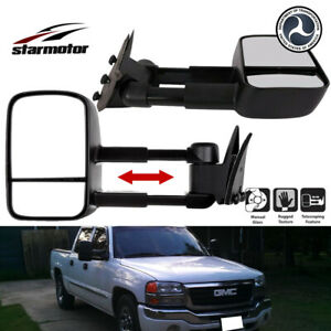 Towing Mirrors Manual Textured Black Pair Set For Chevy Gmc Pickup Truck Suv