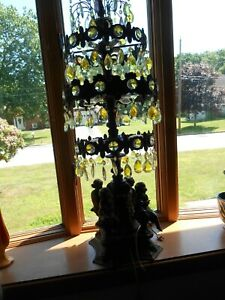Vintage Italian Crystal Chandelier Table Top Lamp Local Pickup Only