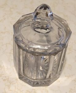 Vintage Art Deco Heavy Glass Covered Jar 1930 S