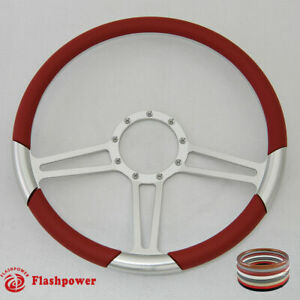 15 5 Billet Steering Wheel Red Half Wrap Firebird Gto