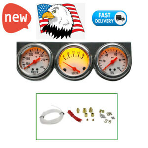 50mm Chrome Gauges 2 5 8 Water Oil Pressure Water Volt Triple 3 Gauge Set Meter