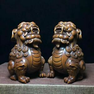 9 Cm Chinese Wood Carving Fengshui Lion Fu Foo Dog Guardion Beast Statue Pair