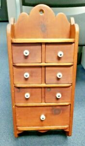 Old Vintage Primitive Wooden Spice Wall Cabinet With 7 Drawers Porcelain Knobs