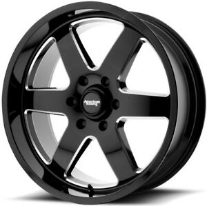 18 Inch Leveled F150 6 Lug 6x135 Black N Milled Wheels 18x9 12mm 4 Rims