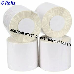 6 Rolls 450 roll 4x6 Direct Thermal Shipping Labels Zebra Zp450 2844 Eltron