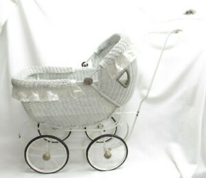 Vtg Old Antique Childs Baby Dolls Pram Wicker
