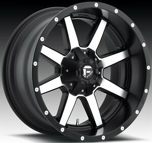 18 Inch Black Machined Wheels 18x9 12mm 4 Fuel Rims 6 Lug 6x135 6x139 7 6x5 5