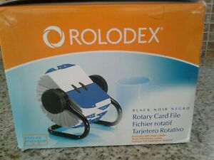 Rolodex Black Frame Open Rotary Card File W 500 Blank Cards