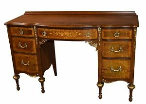 Vintage Carved Inlaid French Style Vanity Desk W Gold Highlights