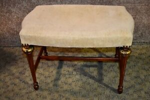 Vintage French Style Vanity Bench W Gold Highlights