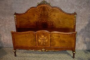 Vintage Carved Inlaid Full Size French Bed W Gold Highlights