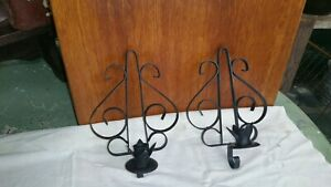 Vintage Pair Wrought Iron Spanish Mission Gothic 1 Candle Wall Sconces