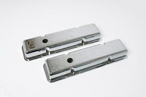 Sbc Small Block Chevy Chrome Aluminum Valve Covers Baffled Flamed With Hole