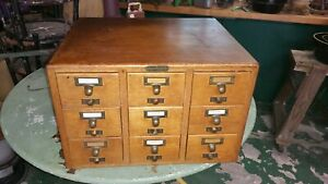 Vintage Oak Gaylord Brothers Dovetailed 9 Drawer Card File Cabinet