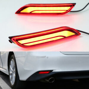 2x For Toyota Camry Led Fog Brake Light Rear Warning Flowing Turn Signal Bumper