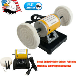 Electric Mini Bench Buffer Polisher Grinder Polishing Machine Buffering 200w