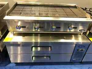 48 Char Rock Broiler Lp Gas W 48 2 Drawer Refrigerated Chef Base Package Deal