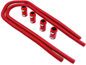 44 Red Stainless Flexible Heater Hose Kit W Billet Clamp Covers Sbc Bbc Sbf V8