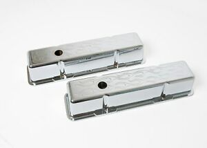 Sbc Small Block Chevy Chrome Aluminum Valve Covers Baffled Flamed With Hole Tall