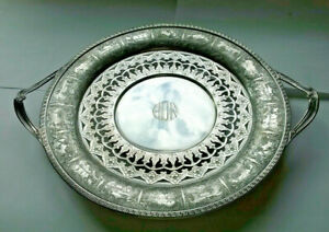 Antique Early Dutch Silvered Ornate Pierced Dish Plate Platter Tray G S Co
