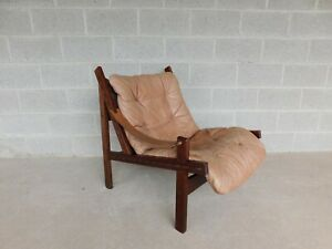 Vintage Leather Teak Sling Accent Club Chair