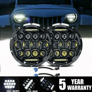 Dot 7 In Round Cree Led Headlights Pair Halo Hi Lo Beam For Hummer H1 H2 H3 H3t