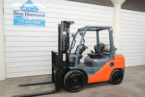 2012 Toyota 8fgu30 6 000 Pneumatic Tire Forklift Lp Gas 3 Stage 4 Way Hyd