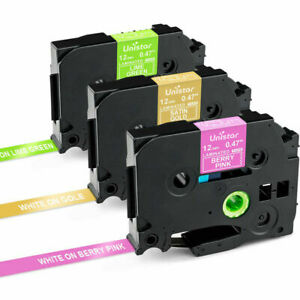 3pk Tze mqg35 Tzemqp35 Pink gold green Fit For Ptouch Brother Label Maker Tape