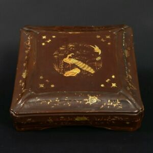 Antique Japanese Lacquer Box With Peacock Bird Cherry Blossoms Flowers 13 Wide