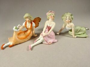 Three Wonderful Reclining Vintage Porcelain Lady Dolls