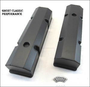 Chevy Sbc 350 Aluminum Fabricated Tall Valve Covers Black Powder Coated Sharp