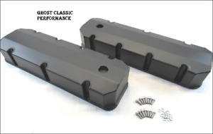 Chevy 454 Bbc Fabricated Tall Aluminum Valve Cover W Holes Black