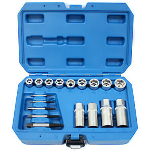 18pc Metric Damaged Rounded Bolt Nut Stud Screw Remover Extractor Kit Socket Set